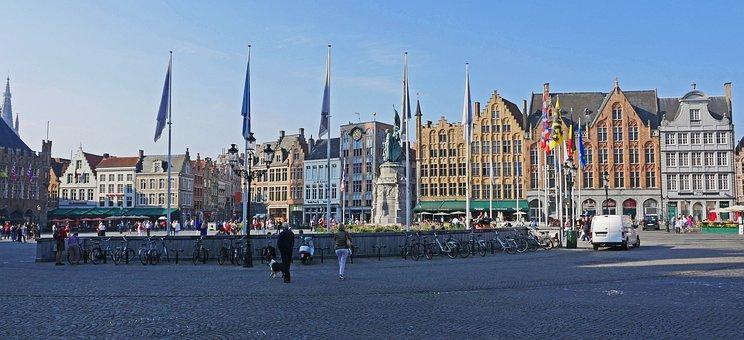 Bruges, Large Market, West Side, Gabled Houses