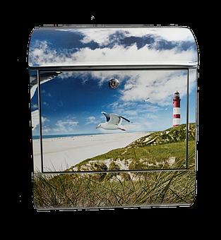 Mailbox, Motif, Maritime, Lighthouse, Seagull, Water