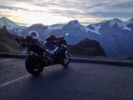 Grossglockner, Motorcycle, Sunset, Mountains, Vehicle