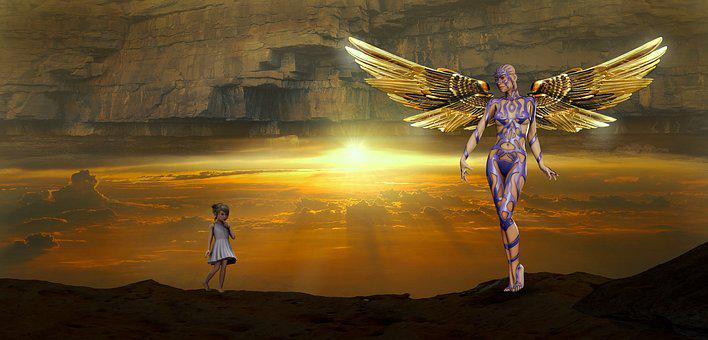 Fantasy, Angel, Girl, Mystical, Wing, Figure