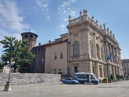 Torino, City, Blue, Old Town, Piazza, Architecture