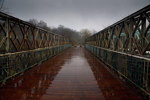 Bridge, River, Rain, Wooden Bridge, Landscape, Way