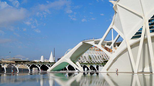Spain, Valencia, Architecture, Reflection, Water, Sky