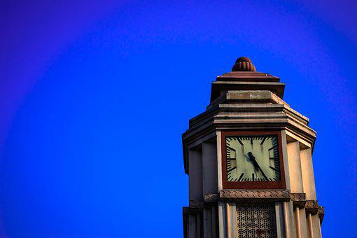 Sky, Clock, Tower, Building, Architecture, Blue, Time