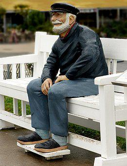 Statue, Person, Man, Old Man, Seeman, Bank, Sit