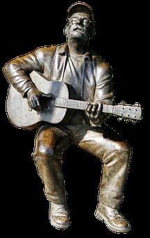 Guitarist, Bronze Statue, Sitting, Still Image, Figure