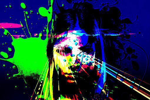 Pop Art, Beautiful, Woman, Girl, Highway, Lights, Night