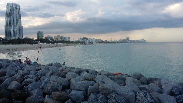 Miami Beach, Sunset, Beach, Peaceful, View, Relax