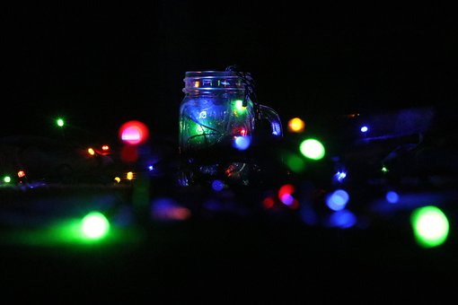 Chennai, Christmas, Lights, Bottle, Night, Light