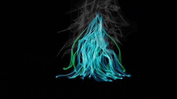 Fire, Blue, Flame, Smoke, Burn, Color, Green, Brand