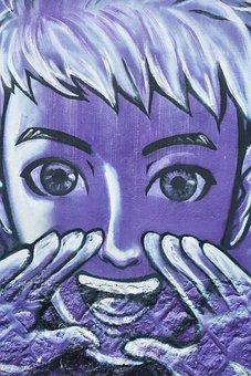 Purple, Human, Mouth, Teeth, El, Graffiti, Art