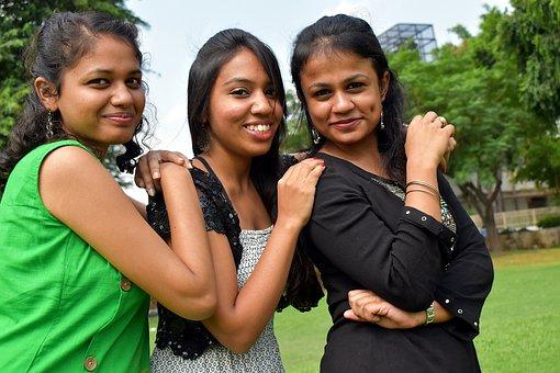 Three Beauties, Feminine, Indians, College Girls