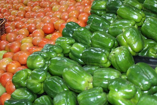 Fresh Vegetables, Green Peppers, Tomatoes, Food Market