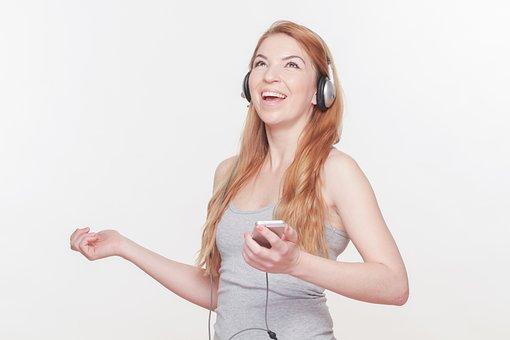 Attractive Woman, Headphones, Smartphone, Global