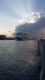 Miami Beach, Cruise, Sunset, View, Sea, Sky, Landscape