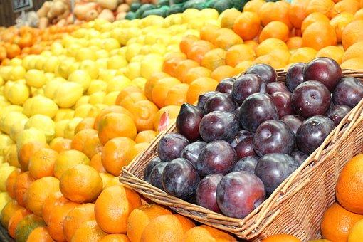 Food, Fresh Fruit, Lemons, Oranges, Plums, Super Market