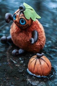Toy, Figure, Pumpkin, Autumn, Small, Puddle, Rain