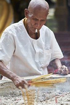 Buddhist, Male, Prayer, Ritual, Buddhism, Asian, Temple