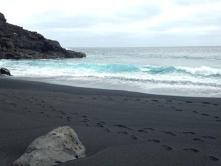 Lava, Beach, Black, Lanzarote, Sea, Nero