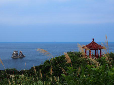 Taiwan, Summer-house, Rock, Grass, Sea, Ocean, Sky