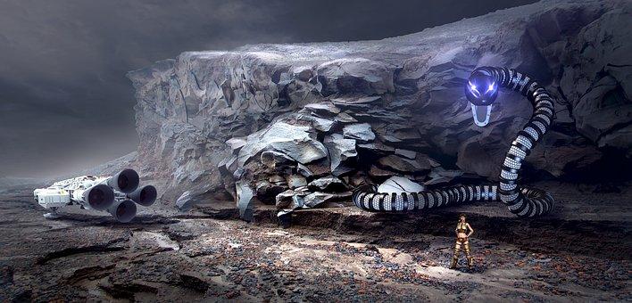 Fantasy, Landscape, Mystical, Rock, Spaceship, Snake