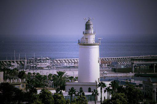 Malaga, Lighthouse, Sea, Cabopino, Spain, Holiday