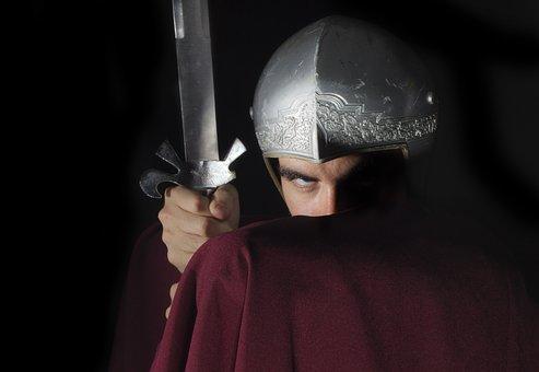 Roman, Gladiator, Sword, Helmet, Man, Fight, Cap, Red