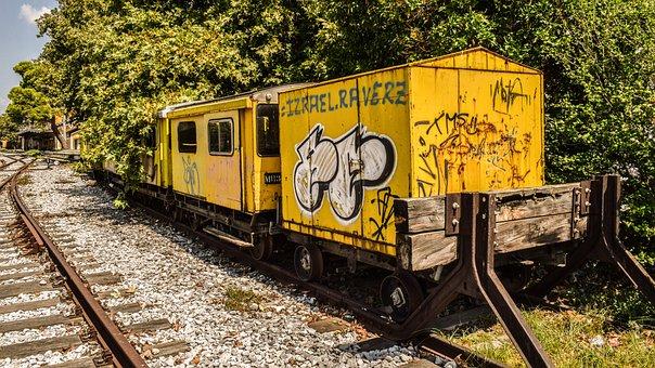 Wagons, Train, Old Abandoned, Yellow, Graffiti, Railway