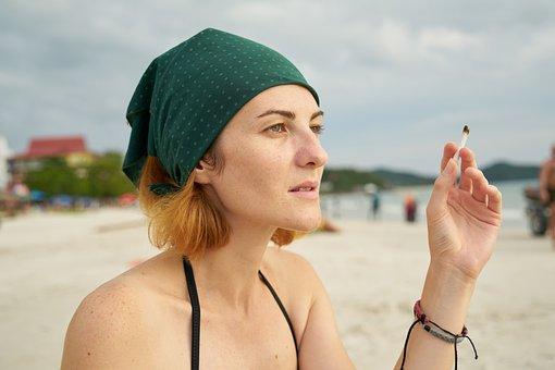 Cigarette, Women's, Beach, Pretty Girl, Young Girl