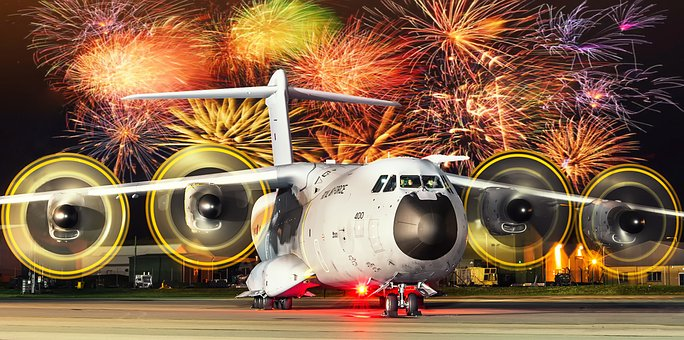 Night, Fireworks, Plane, A400m, Airshow, Airbus