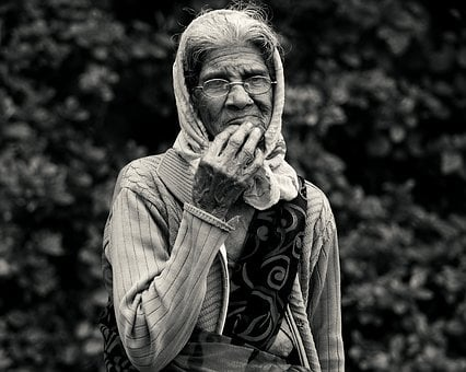 Old Lady, Black And White, Monochrome, Art, Lady