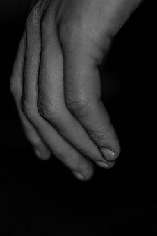Hand, Fingers, Black And White, Male