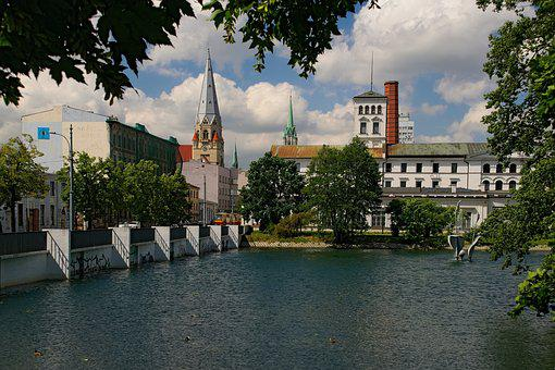 Pond, Fountain, Park, Building, History