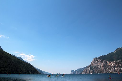 Garda, Italy, Lake, Landscape, Mountains, Water Sports