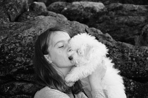 Kiss, Kisses, Photo Black White, Girl, Young Woman