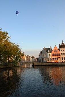 Belgium, Bruges, Channel, House, Facade, Landscape
