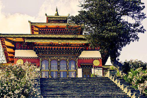 Dzong On A Hill, Stairs, Holy, Temple, Architecture