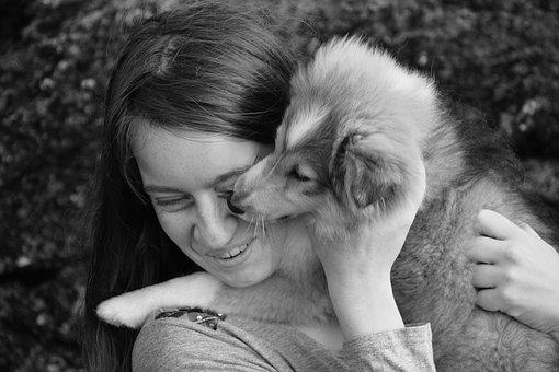 Kiss, Kisses Dog, Pup, Puppy, Girl, Young Woman