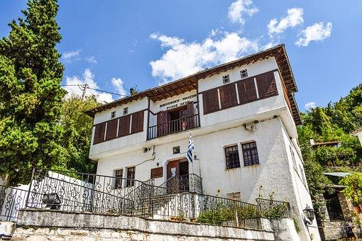 Greece, Pelio, Milies, Village, Library, Architecture