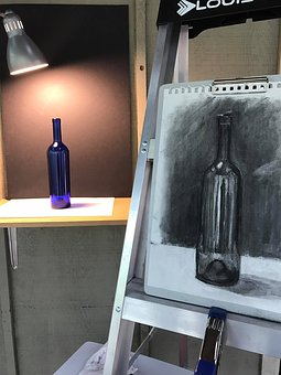 Art, Charcoal, Drawing, Bottle