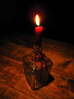 Candle, Candles, Table, A Bottle Of, Candlestick, Flame