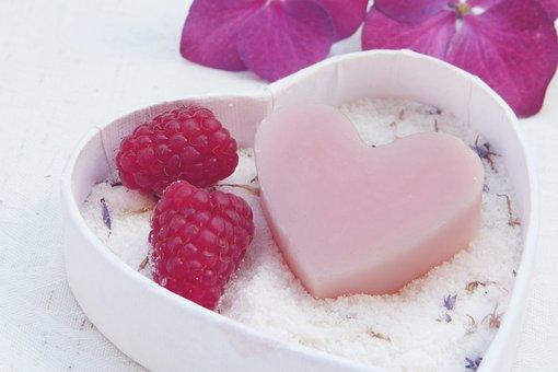 Soap, Heart, Pink, Badesalz, Salt, Flowers, Hygiene