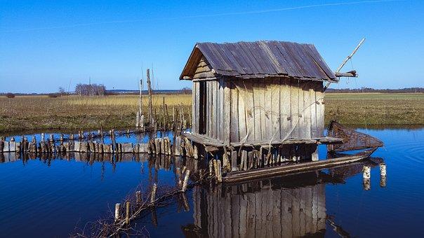 Fisherman's Hut, Old, Abandoned, Fishing Net, Hut