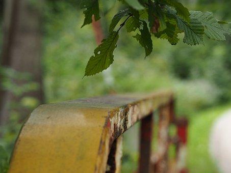 Railing, Bridge, Iron, Stainless, Old, Weathered, Leaf