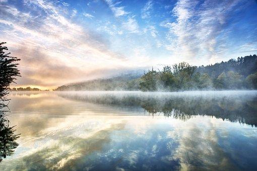 Lake, Fog, Water, Nature, Landscape, Mood, Sunrise
