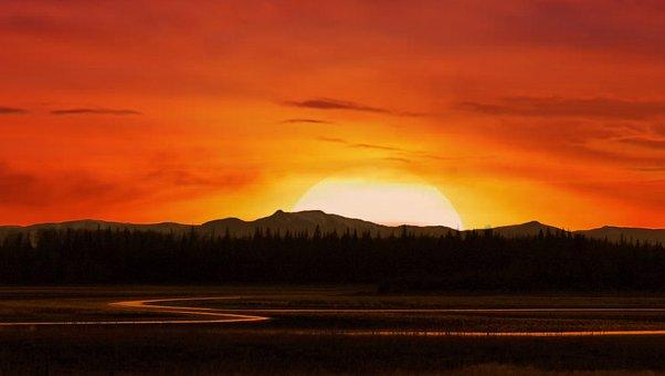Alberta, Canada, Mountains, Sunrise, Nature, Landscape