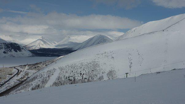 Mountains, Kirovsk, May, Snow, Skiing, Snowboard