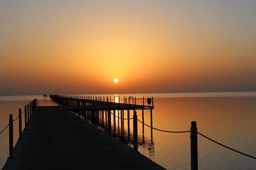 Sunrise, Egypt, Sea, Ocean, Red Sea, Morgenstimmung