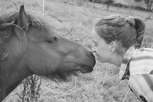 Pony, Shetland, Photo Black White, Girl, Young Woman