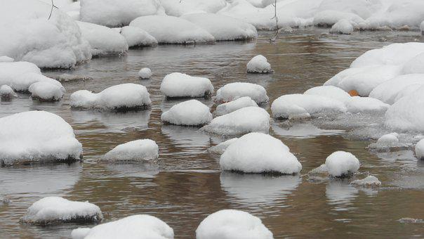 Stones, Rocks, Rock, Water, Snow, Ice, Stream, Brook